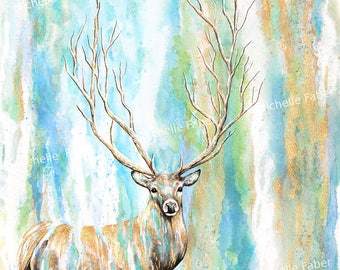 Print Deer Tree Watercolor //art,nature,painting,bohemian,boho,scenic,scenery,magical,enchanted,deer,animals,animal art,forest,surreal,magic