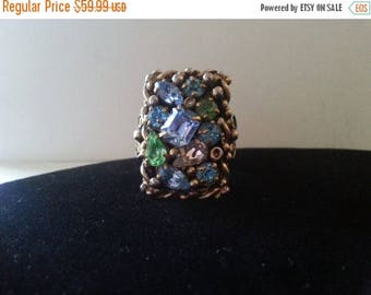 On Sale Vintage Barclay Signed Rhinestone Ring, 1950's 1960's Old Hollywood Designer Signed Jewelry, Mad Men Mod, Retro High End Collectible