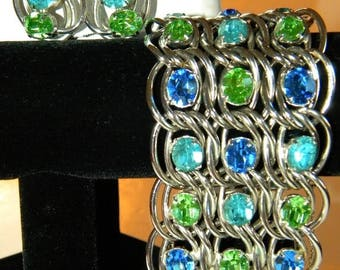 Now On Sale Classy Vintage Rhinestone Bracelet Earring Set Wide Chunky Aqua Blue Green Demi Parure 1950s 1960s Hollywood Regency Jewelry