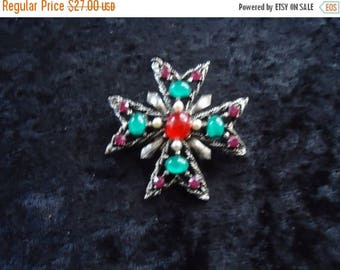 Now On Sale Vintage Multi Color Brooch Pin Mid Century Collectible Costume Jewelry 1950s