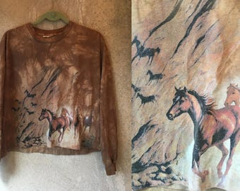 Brown Space Dye HORSE Western Animal Cropped Boxy Long Sleeved Shirt