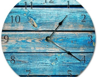 "10.5"" VERY OLD PAINTED Wooden Board Clock - Living Room Clock - Large 10.5"" Wall Clock - Home Décor Clock - 5873"