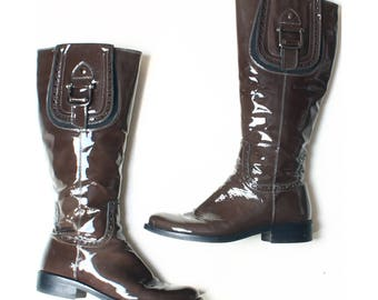 Vintage Kay Brown Patent Leather Knee High Boots UK 6 US 8.5 EU 39