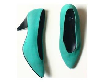 Vintage 80s Allures Green Textile Court Shoes UK 3.5 US 6 EU 36