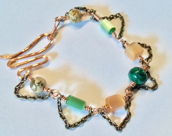 """Beautiful Copper """"Chained Jewels"""" Bracelet with Semi Precious Stones & Shell Beads"""