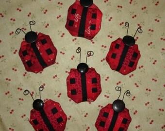 12% off thru July Miniature log cabin quilt LADY BUG pin LADYBUG red black