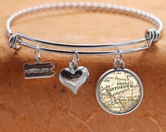 Norristown PA Map Charm Bracelet State of Pennsylvania Bangle Cuff Bracelet Vintage Map Jewelry Stainless Steel Bracelet