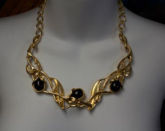 Jose Barrera for Avon, 1980's Gold Fashion Necklace and Matching Clip Earrings