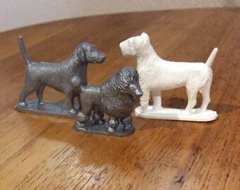 3 plastic dogs 1950s era beagle poodle airedale