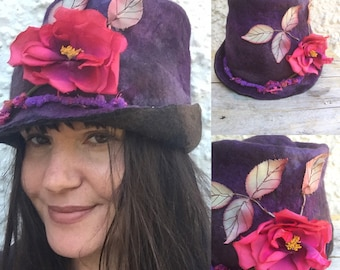 Festival Hat- fairy hat- felted hat- fedora hat- felt hat - flower hat-pixie hat-fantasy costume-woodland hat- pixie hood- elf