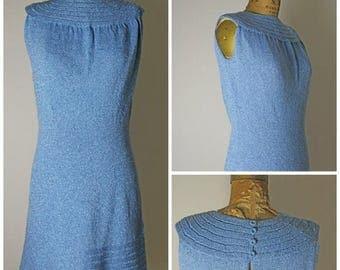 ON SALE 1960s Knit Blue Mod Lurex Dress