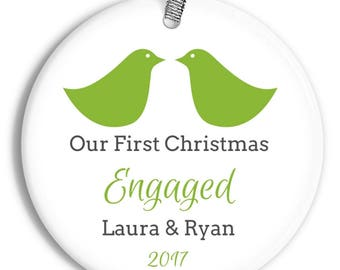 Love Birds Engagement Ornament - Recently Engaged - Wedding Gift - Personalized Porcelain Holiday Ornament - orn0387 - Peachwik - Ornament