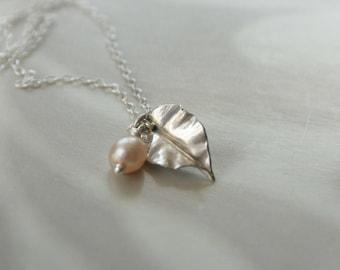 Leaf - Birthstone Gemstone Bead Sterling Silver Small Delicate Leaf Pendant