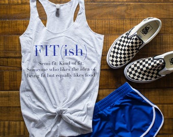 Fit-ish, fitness tanktop, Women fitness tank, tri-blend Racerback tank- heather white, Fit-ish,NL6733hthrwhite