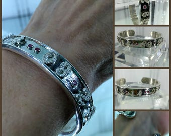 """Personalized Date Cuff Bracelet, Solid Sterling Silver, 10 Round Genuine Rubies, Bezel set 0.25cts, 12 Solid Granulated Numbers, 1/2"""" Wide"""
