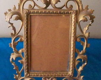 ON SALE VICTORIAN Picture Frame Metal Gold Tone Footed  Easel Style Fancy Scroll