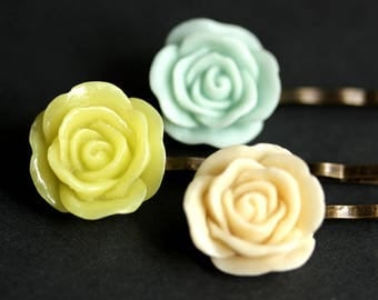 Rose Hair Pins. Rose Bobby Pins in Pale Blue Rose, Yellow Green Rose, and Pale Peach Rose. Handmade Hair Accessories.