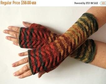 Fingerless Gloves Brown Beige Red Orange Yellow Green wrist warmers