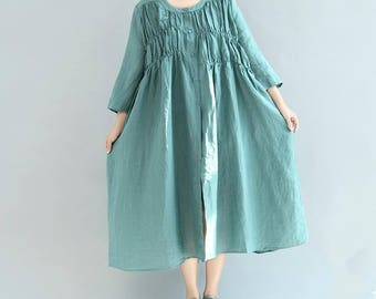 linen Loose doll dress/ Lake Blue