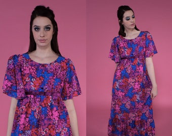 Vintage 1960s Purple Floral Empire Bust Maxi Dress | small