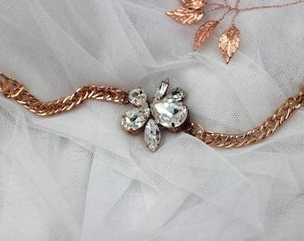 Rose gold bracelet, Crystal Cuff, Crystal Bracelet, Bridal Bracelet, Wedding Jewelry, Bridal Cuff. Classic old Hollywood Rhinestone Cuff