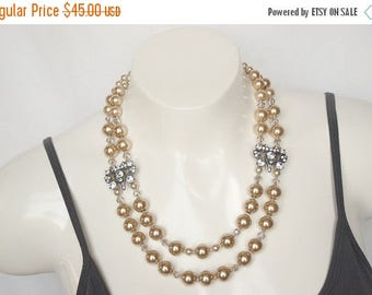 Champagne Pearls, Statement Necklace, Multi Strand, Almond Pearls, Rhinestones, 1950s Pearls, Vintage Style, Romantic Jewelry, Trending