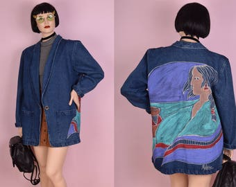 90s Hand Painted Native American Denim Jacket/ XL/ 1990s/ Coat/ Jean Jacket