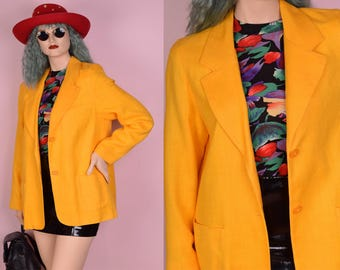 90s Yellow Blazer/ Large/ 1990s/ Jacket