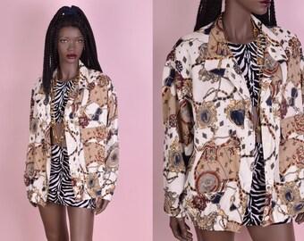 90s Scarf Print Jacket/ One Size/ 1990s