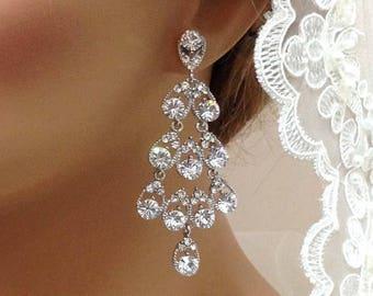 Bridal jewelry, Bridal earrings, Wedding jewelry, Bridesmaids earrings, Hollywood jewelry, Great Gatsby earrings, Vintage inspired earrings