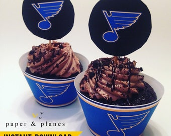 Printable St Louis Blues Cupcake Wrappers and Toppers