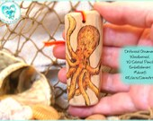 Orange Octopus Driftwood Art Ornament, Pyrography and Pencil, #DWOR5