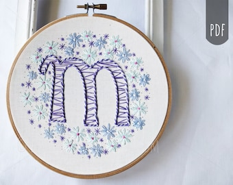 PDF Embroidery Pattern, Monogram, Letters, Alphabet, Hand Stitching,