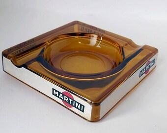 Martini ashtray, cigar ashtray in amber glass, stylish 1970s