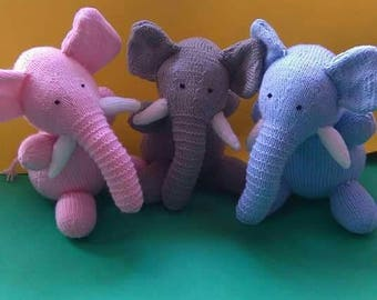 Elephant hand knitted toy