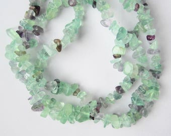 35 inch strand of 4-6mm rainbow fluorite chips beads natural semi precious gem stone