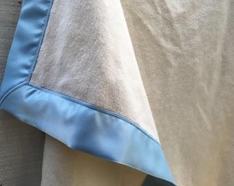 GOTS Organic Cotton Fleece Baby Blanket with Baby Blue Satin Trim