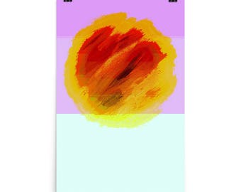 Orange Slice on Purple and Lime, Limited Edition, Abstract,Restaurant Art, Red, Fruit, Museum Quality Poster Print