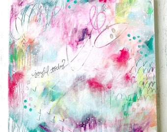 """Abstract Painting/ """"Joyful Today""""/ 12x12 inch canvas/ Mixed Media Painting/ Fullness of Joy/ Wall Art/ Colorful Home Decor"""
