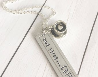 But first COFFEE Silver Necklace
