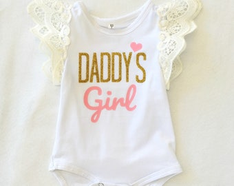 Daddy's Girl Lace Flutter Sleeve Fathers Day Bodysuit