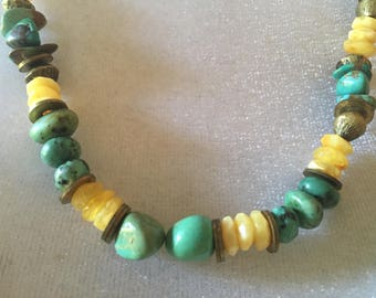 Boho Southwestern Turquoise Baltic Amber African Trade Glass Brass Bead Necklace