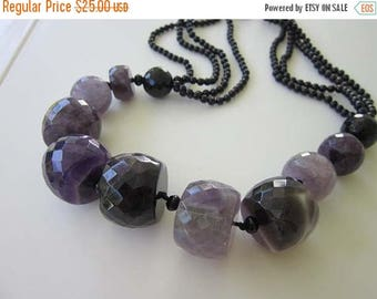 50% OFF Beautiful Handmade Amethyst and Onyx bead Necklace