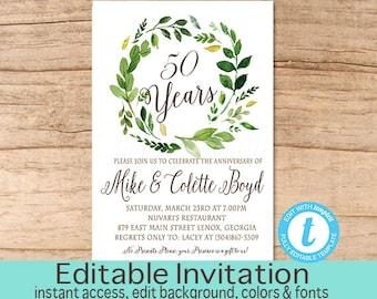 50th Anniversary invitation, Anniversary Party Invitation, Greenery Anniversary Invitation, Editable Invite, Instant Download