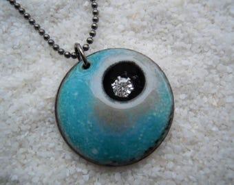 Aqua Blue and Gray Pendant  Artisan Jewelry