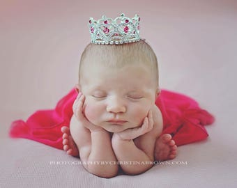 Silver and Pink Rhinestone Hearts Baby Crown, newborn, maternity, baby crown, tiara, Austrian Crystals, bebe by Lil Miss Sweet Pea