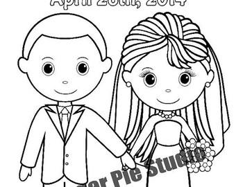 ON SALE Wedding coloring book  Favor Kids 8.5 x 11  PDF or Jpeg Template