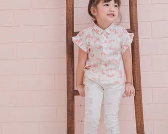 Girl floral sweet top girl blouse sleeve top