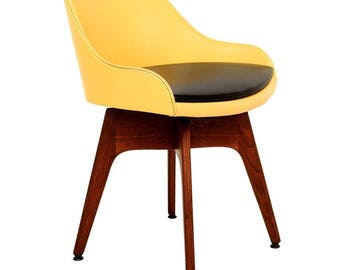 Mid-Century Danish Modern Walnut Revolving Chair
