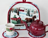 Christmas Tea Cozy Quilted, Red Blue Winter Teapot Cover, Horse Sleigh Ride, Teapot Mat + 4 Coasters, Gift Set for Tea Lover